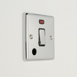 Eurolite Enhance Polished Chrome 1 Gang 20A DP Switch with Flex Outlet, Neon, and Black Insert