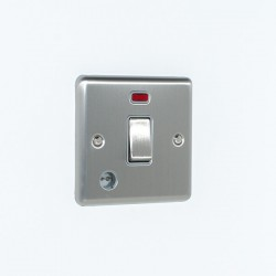 Eurolite Enhance Satin Stainless Steel 1 Gang 20A DP Switch with Flex Outlet, Neon, and Grey Insert