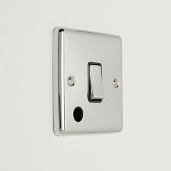 Eurolite Enhance Polished Chrome 1 Gang 20A DP Switch with Flex Outlet and Black Insert