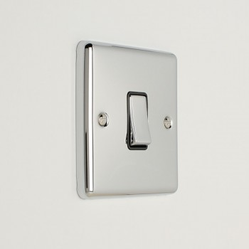 Eurolite Enhance Polished Chrome 1 Gang 20A DP Switch with Black Insert