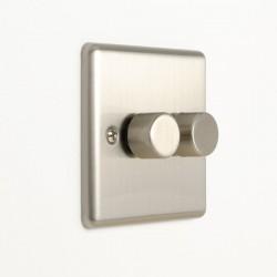 Eurolite Enhance Satin Stainless Steel 2 Gang 400W LED Dimmer Switch