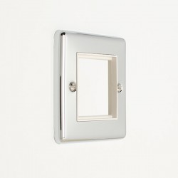 Eurolite Enhance Polished Chrome 2 Gang Euro Plate with White Insert