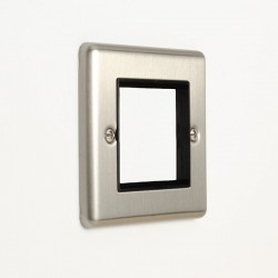 Eurolite Enhance Satin Stainless Steel 2 Gang Euro Plate with Black Insert