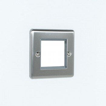 Eurolite Enhance Satin Stainless Steel 2 Gang Euro Plate with Grey Insert