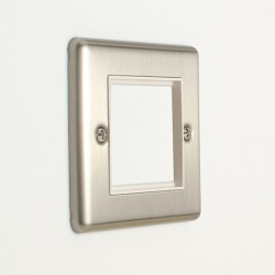 Eurolite Enhance Satin Stainless Steel 2 Gang Euro Plate with White Insert