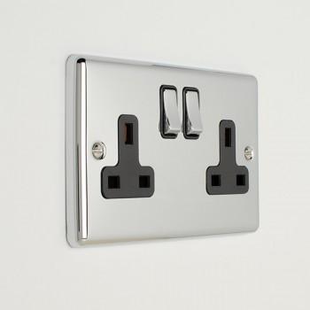 Eurolite Enhance Polished Chrome 2 Gang 13A DP Switched Socket with Black Insert