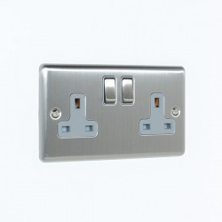Eurolite Enhance Satin Stainless Steel 2 Gang 13A DP Switched Socket with Grey Insert