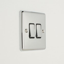 Eurolite Enhance Polished Chrome 2 Gang 10A 2 Way Switch with Black Insert