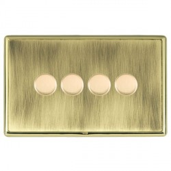 Hamilton Linea-Rondo CFX Polished Brass/Antique Brass Push On/Off Dimmer 4 Gang Multi-way Trailing Edge with Polished Brass Insert