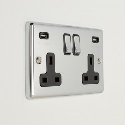 Eurolite Enhance Polished Chrome 2 Gang 13A Switched Socket with 3.1A USB Outlet and Black Insert
