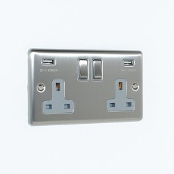 Eurolite Enhance Satin Stainless Steel 2 Gang 13A Switched Socket with 3.1A USB Outlet and Grey Insert