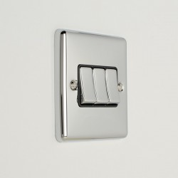 Eurolite Enhance Polished Chrome 3 Gang 10A 2 Way Switch with Black Insert