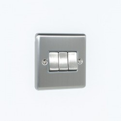 Eurolite Enhance Satin Stainless Steel 3 Gang 10A 2 Way Switch with Grey Insert