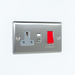 Eurolite Enhance Satin Stainless Steel 45A DP Cooker Switch and 13A Switched Socket with Grey Insert