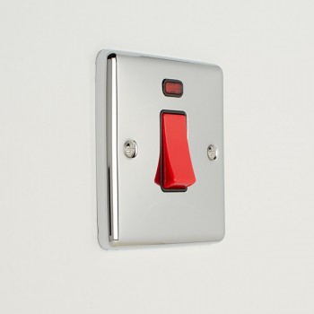 Eurolite Enhance Polished Chrome 45A DP Cooker Switch with Neon and Black Insert