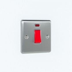Eurolite Enhance Satin Stainless Steel 45A DP Cooker Switch with Neon and Grey Insert