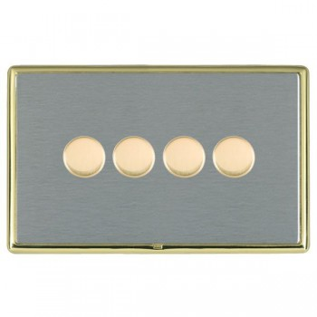 Hamilton Linea-Rondo CFX Polished Brass/Satin Steel Push On/Off Dimmer 4 Gang Multi-way Trailing Edge with Polished Brass Insert