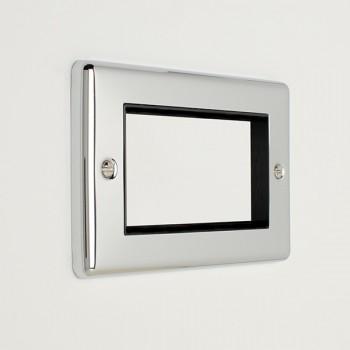 Eurolite Enhance Polished Chrome 4 Gang Euro Plate with Black Insert