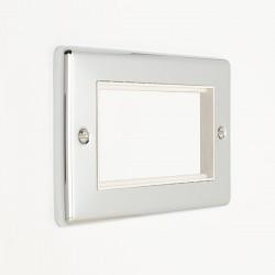 Eurolite Enhance Polished Chrome 4 Gang Euro Plate with White Insert