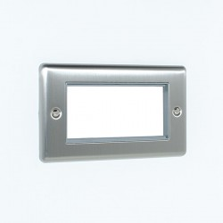 Eurolite Enhance Satin Stainless Steel 4 Gang Euro Plate with Grey Insert