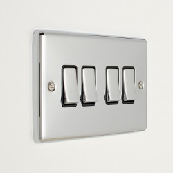 Eurolite Enhance Polished Chrome 4 Gang 10A 2 Way Switch with Black Insert