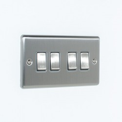 Eurolite Enhance Satin Stainless Steel 4 Gang 10A 2 Way Switch with Grey Insert