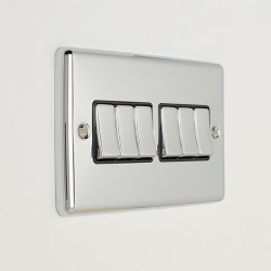 Eurolite Enhance Polished Chrome 6 Gang 10A 2 Way Switch with Black Insert