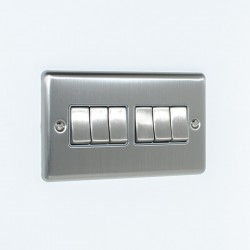 Eurolite Enhance Satin Stainless Steel 6 Gang 10A 2 Way Switch with Grey Insert