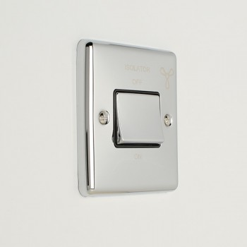 Eurolite Enhance Polished Chrome 6A Fan Isolator Switch with Black Insert