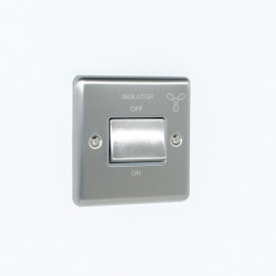 Eurolite Enhance Satin Stainless Steel 6A Fan Isolator Switch with Grey Insert