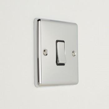 Eurolite Enhance Polished Chrome 1 Gang 10A Intermediate Switch with Black Insert