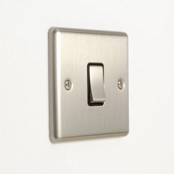Eurolite Enhance Satin Stainless Steel 1 Gang 10A Intermediate Switch with Black Insert
