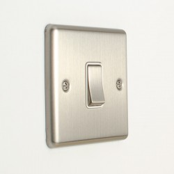 Eurolite Enhance Satin Stainless Steel 1 Gang 10A Intermediate Switch with White Insert