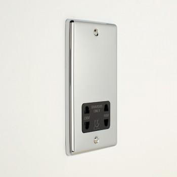 Eurolite Enhance Polished Chrome Dual Voltage Shaver Socket with Black Insert