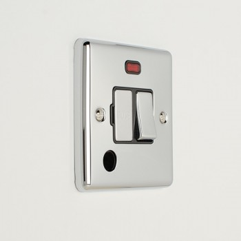 Eurolite Enhance Polished Chrome 13A DP Switched Fuse Spur with Neon, Flex Outlet, and Black Insert