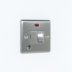 Eurolite Enhance Satin Stainless Steel 13A DP Switched Fuse Spur with Neon, Flex Outlet, and Grey Insert