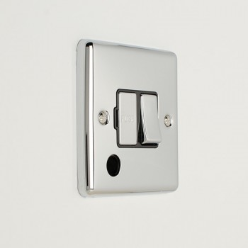 Eurolite Enhance Polished Chrome 13A DP Switched Fuse Spur with Flex Outlet and Black Insert