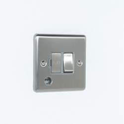 Eurolite Enhance Satin Stainless Steel 13A DP Switched Fuse Spur with Flex Outlet and Grey Insert