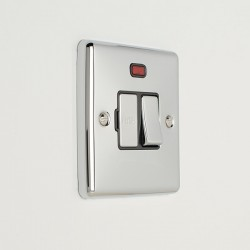 Eurolite Enhance Polished Chrome 13A DP Switched Fuse Spur with Neon and Black Insert