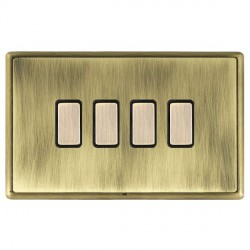 Hamilton Linea-Rondo CFX Antique Brass/Antique Brass 4 Gang Multi way Touch Master Trailing Edge with Bla...
