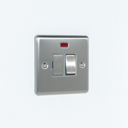 Eurolite Enhance Satin Stainless Steel 13A DP Switched Fuse Spur with Neon and Grey Insert