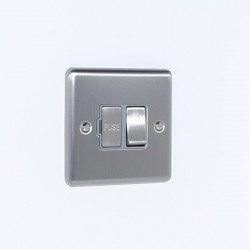 Eurolite Enhance Satin Stainless Steel 13A DP Switched Fuse Spur with Grey Insert