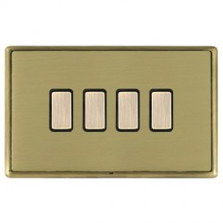 Hamilton Linea-Rondo CFX Antique Brass/Satin Brass 4 Gang Multi way Touch Master Trailing Edge with Black...