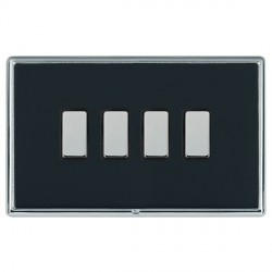 Hamilton Linea-Rondo CFX Bright Chrome/Piano Black 4 Gang Multi way Touch Master Trailing Edge with Black...