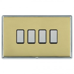 Hamilton Linea-Rondo CFX Bright Chrome/Polished Brass 4 Gang Multi way Touch Master Trailing Edge with Bl...