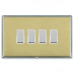Hamilton Linea-Rondo CFX Bright Chrome/Polished Brass 4 Gang Multi way Touch Master Trailing Edge with Wh...