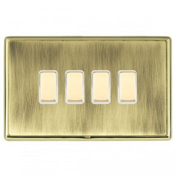 Hamilton Linea-Rondo CFX Polished Brass/Antique Brass 4 Gang Multi way Touch Master Trailing Edge with White Insert