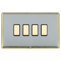 Hamilton Linea-Rondo CFX Polished Brass/Bright Steel 4 Gang Multi way Touch Master Trailing Edge with Bla...