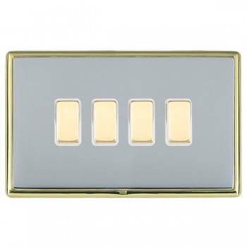 Hamilton Linea-Rondo CFX Polished Brass/Bright Steel 4 Gang Multi way Touch Master Trailing Edge with White Insert