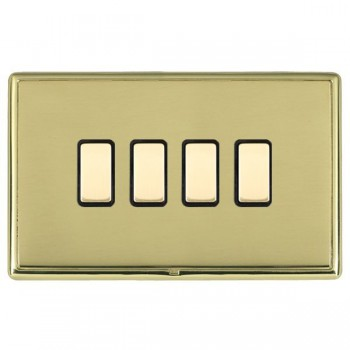 Hamilton Linea-Rondo CFX Polished Brass/Polished Brass 4 Gang Multi way Touch Master Trailing Edge with Black Insert